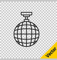 black line disco ball icon isolated on transparent vector image vector image