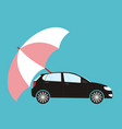 blue umbrella protecting car flat style safety vector image vector image