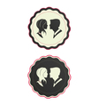 Cameo couple in hipster ornate frames vector image
