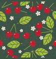 cherry leaves flowers seamless pattern vector image vector image