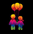 children icon couple icon with balloons vector image
