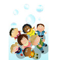 children playing bubbles vector image