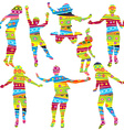Children silhouettes in geometrical childish style vector image vector image