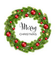 christmas green pine branches and red baubles vector image vector image