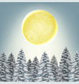 christmas winter snow forest with moon background vector image