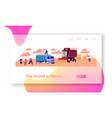 cotton harvesting website landing page laborers vector image vector image