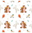 cute animal bear duck leaf sprout fall winter vector image