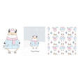 cute ox in a scarf winter hand drawn cards and vector image vector image