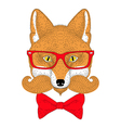 Cute red fox portrait face with french mustache vector image vector image