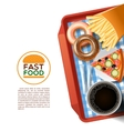 Fast food tray background poster vector image vector image