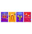 festa junina cartoon flyers party invitation cards vector image vector image