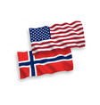 flags of norway and america on a white background vector image vector image