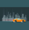 flat racing car night city background eps 10 vector image