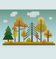 flat style autumn forest on storm sky background vector image vector image
