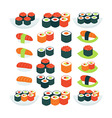 Flat Style Collection of Food Sushi Sashimi and vector image vector image