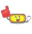 foam finger ticket mascot cartoon style vector image