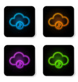 glowing neon music streaming service icon vector image vector image