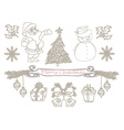 hand drawn christmas doodle set vector image
