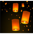 happy diwali holiday background with sky lanterns vector image vector image