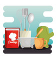 kitchen set utensils icons vector image