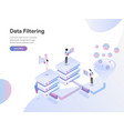 landing page template data filtering isometric vector image
