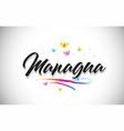 managua handwritten word text with butterflies vector image