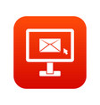 monitor with email sign icon digital red vector image vector image