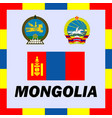 official ensigns flag and coat of arm of mongolia vector image vector image