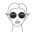Portrait of young elf wearing round sunglasses vector image