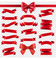 red ribbon and bow transparent background vector image vector image