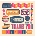 retro style thank you design elements set vector image vector image