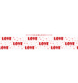 romantic horizontal seamless border with hearts vector image