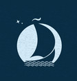 sailboat at sea in the background of the moon vector image