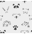 seamless pattern of cute animal faces for t shirt vector image