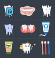 set healthy tooth perfect smile toothpaste vector image vector image