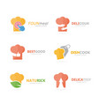 set of chef hat logo combination kitchen and vector image vector image