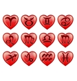 set stylish zodiac signs in the shape heart vector image