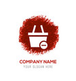 shopping cart and delete sign - red watercolor vector image vector image