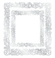 silver frame floral ornament vector image vector image
