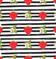Strawberry hand drawn sketch striped Seamless vector image vector image