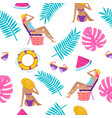 summer time vacation seamless pattern vector image vector image