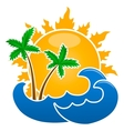 sun palm waves isolated on the white background vector image