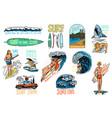 surf badge vintage surfer logo retro wave vector image vector image