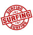 surfing round red grunge stamp vector image vector image