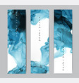 three blue banners with abstract alcohole ink vector image vector image