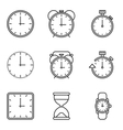 Time and clock line icons set vector image vector image