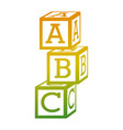 tower of alphabet block toy education icon vector image