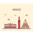 Venice skyline trendy linear vector image