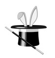 white rabbit ears appear from the magic hat vector image