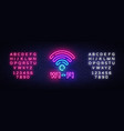 wifi neon sign wifi symbol neon glowing vector image vector image